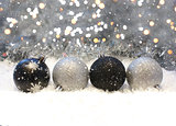 Silver and black Christmas decorations
