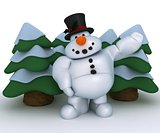 Snowman Character with christmas trees