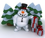 Snowman Character with christmas trees and gifts