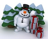 Snowman Character with gifts