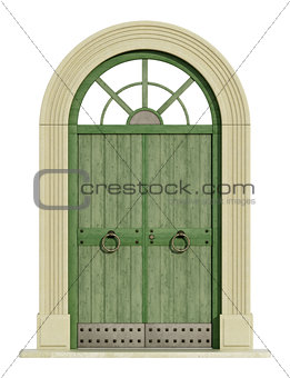 Old  front door with stone portal