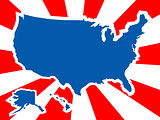 USA country shape in rays background