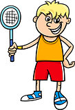 boy with tennis racket cartoon