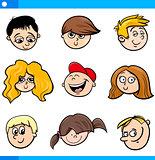 cartoon children faces set