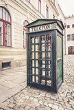 Old retro street public telephone booth
