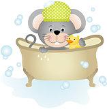 Mouse taking a bath