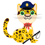 Cartoon animal leopard police
