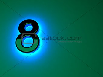 Glowing blue light black figure. Blue neon glow. Black brilliant figure. A separate letter. Raster illustration.