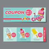 ice cream coupon discount template flat design