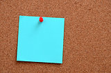 Blank notes pinned into corkboard