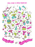 Set of neon bright doodle design elements for Christmas and New Year