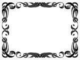 black ribbon frame isolated on white