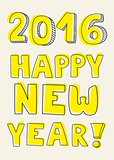 Happy New Year 2016 hand drawn pastel vector sign