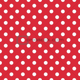 Tile vector pattern with white polka dots on red background