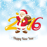 New Year greeting card with Santa Claus