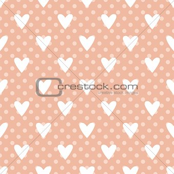 Tile vector pattern with white hearts and polka dots on pastel pink background