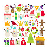 Big Flat Style Vector Collection of Merry Christmas Objects