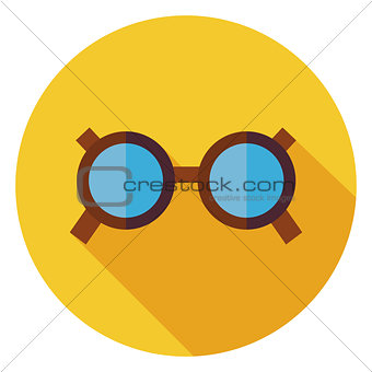 Flat Accessory Glasses Circle Icon with Long Shadow
