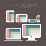 Responsive webdesign technology page design template on dark background