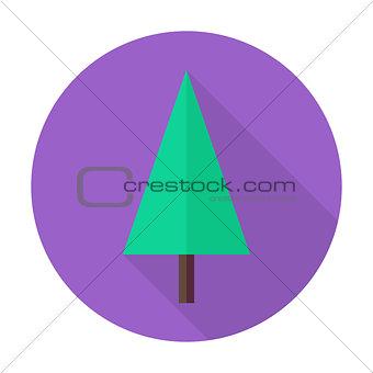 Flat Christmas Tree Circle Icon with Long Shadow