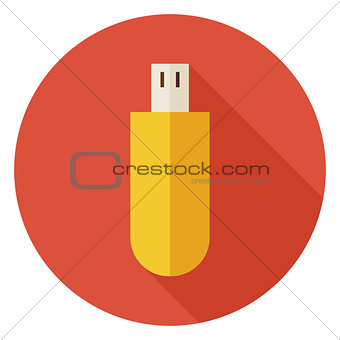 Flat Computer Technology USB Circle Icon with Long Shadow