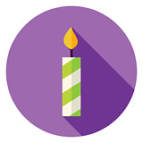 Flat Design Candle Circle Icon