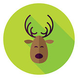 Flat Design Christmas Deer Circle Icon