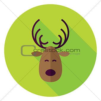 Flat Design Christmas Deer Circle Icon