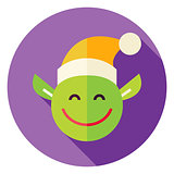 Flat Design Christmas Elf Circle Icon
