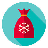 Flat Design Christmas Santa Bag Circle Icon
