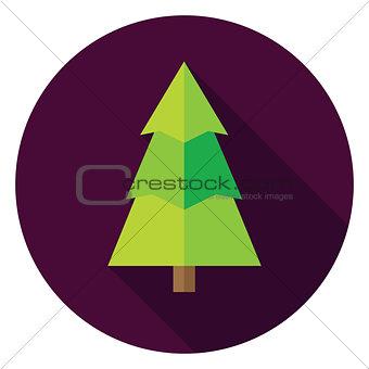 Flat Design Christmas Tree Circle Icon