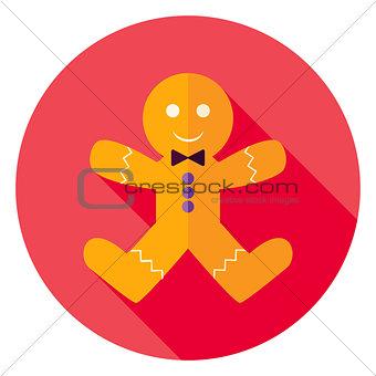 Flat Design Gingerbread Man Cookie Circle Icon