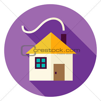 Flat Design House with Smoke Circle Icon