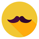 Flat Design Mustache Circle Icon