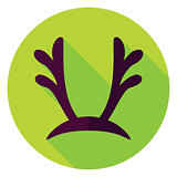 Flat Design Reindeer Antlers Circle Icon