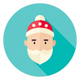 Flat Design Santa Claus Face Circle Icon