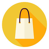 Flat Design Shopping Bag Circle Icon