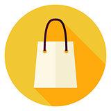 Flat Design Shopping Bag Circle Icon
