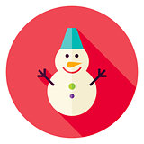 Flat Design Snowman Circle Icon