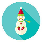 Flat Design Snowman with Scarf Circle Icon