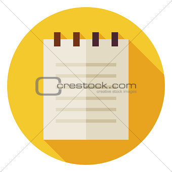 Flat Office Paper Notepad Circle Icon with Long Shadow