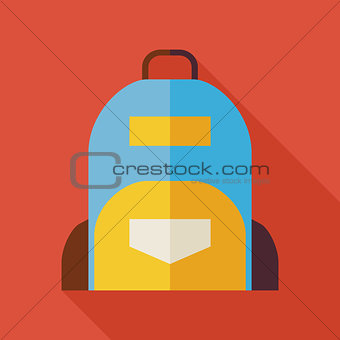 Flat School Bag Illustration with long Shadow