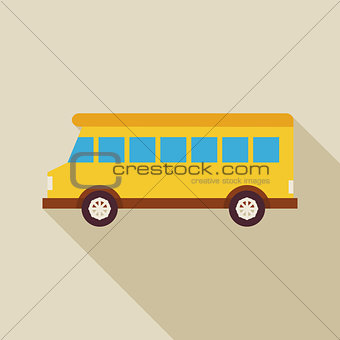 Flat School Bus Transport Illustration with long Shadow