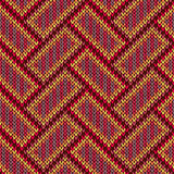 Seamless Knitted Pattern. Yellow Orange Red Blue Brown Color