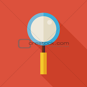 Flat Search Magnifying Glass Illustration with long Shadow