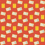 Flat Vector Seamless Pattern Many Books