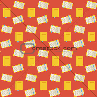 Flat Vector Seamless Pattern Many Books