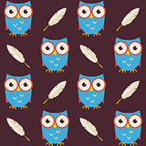 Flat Vector Seamless Pattern Owls with Feathers