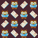 Flat Vector Seamless Pattern Wisdom Owl Reading Book