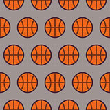 Flat Vector Seamless Sport and Recreation Pattern Basketball